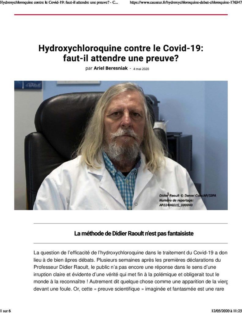 Hydroxychloroquine et le sens de la preuve - Causeur 4 Mai 2020